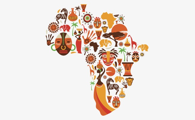 African clipart design. Creative map of africa