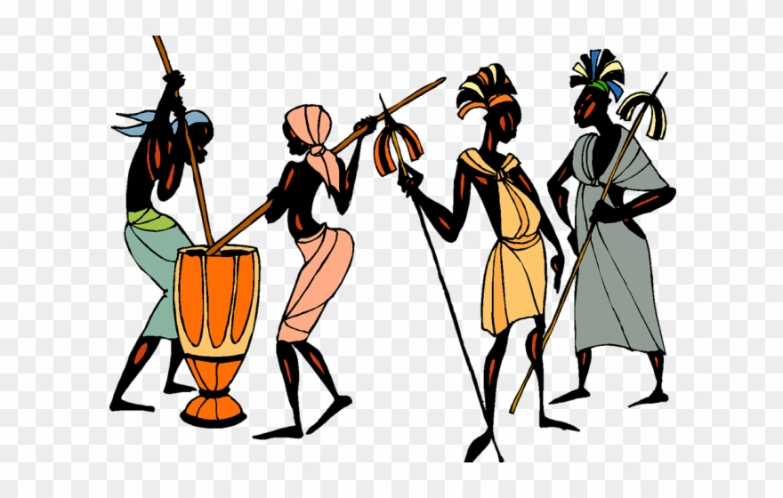 Africa collage on tribe. African clipart culture african