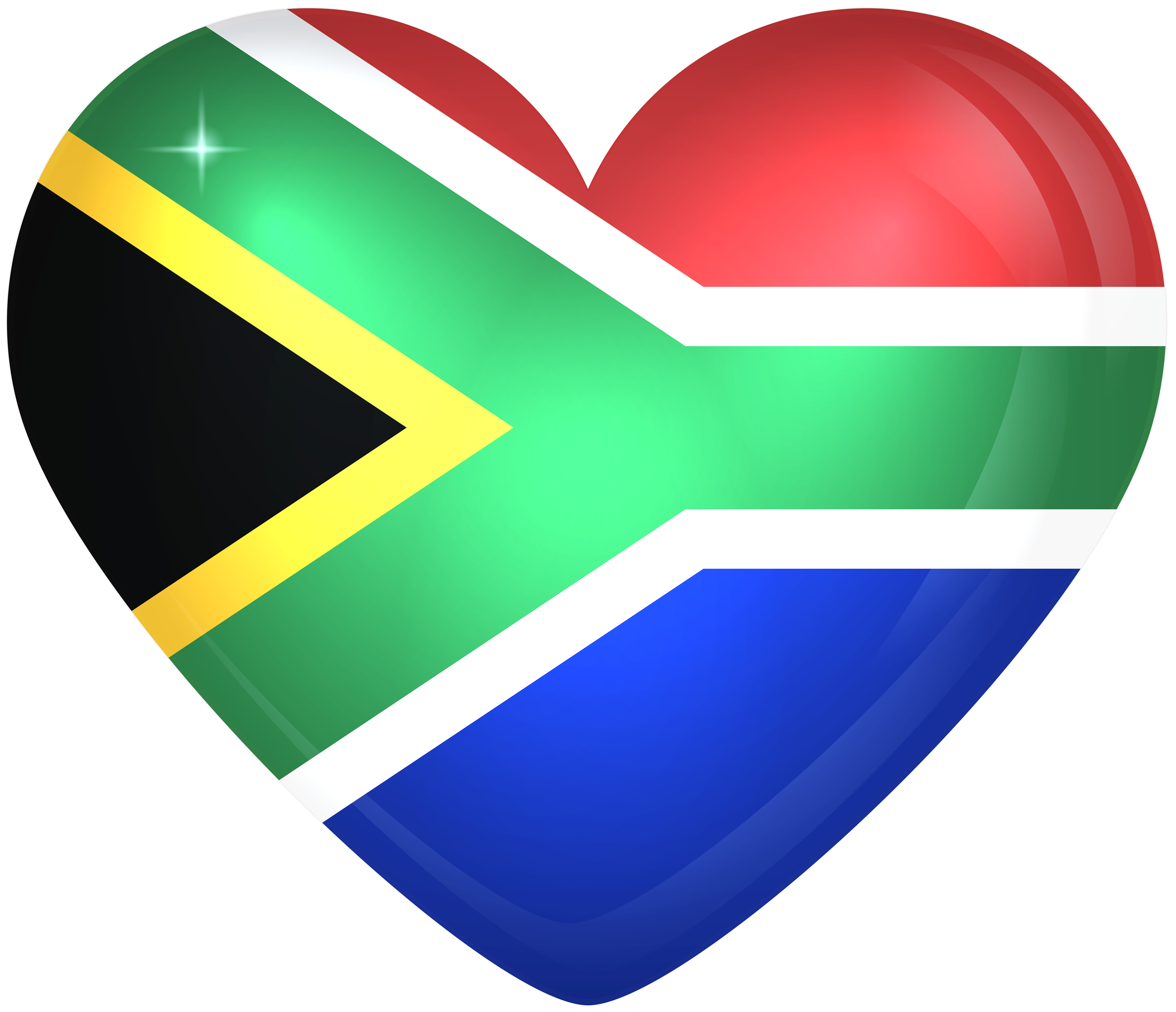 South africa large heart. Hearts clipart flag