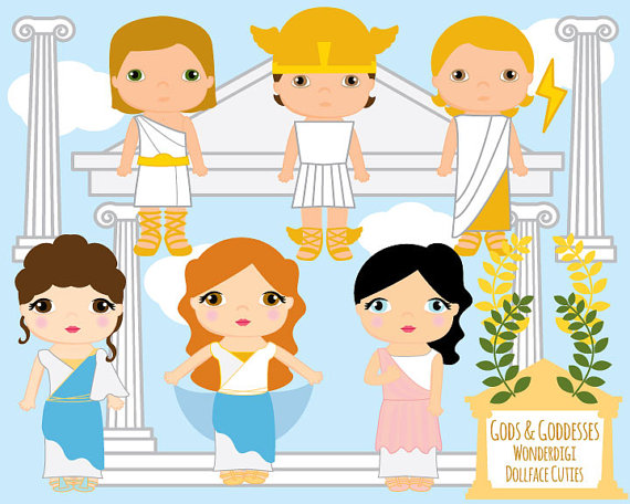 Cute kids greek goddesses. Africa clipart gods
