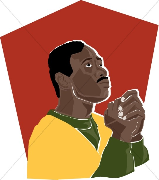 American praying prayer. African clipart man african