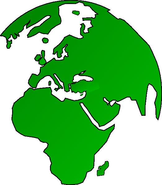 African globe map green. Clipart earth vector