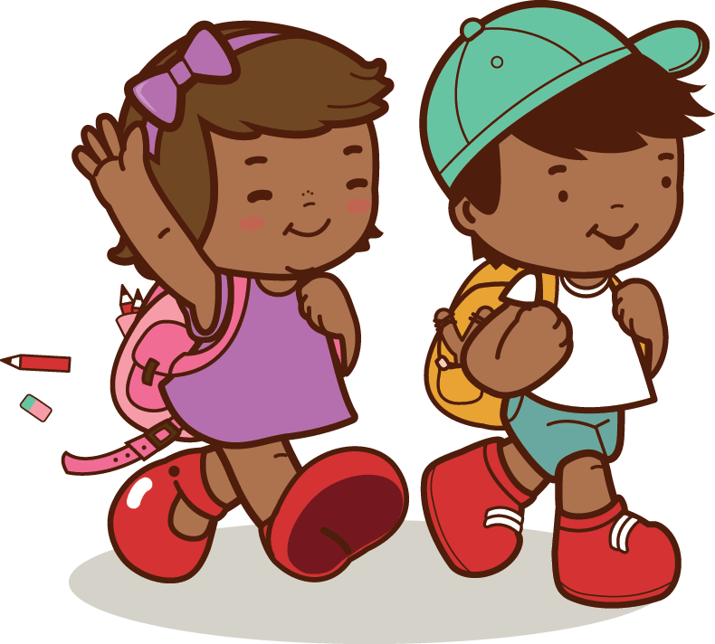 American kids walk to. African clipart kid african