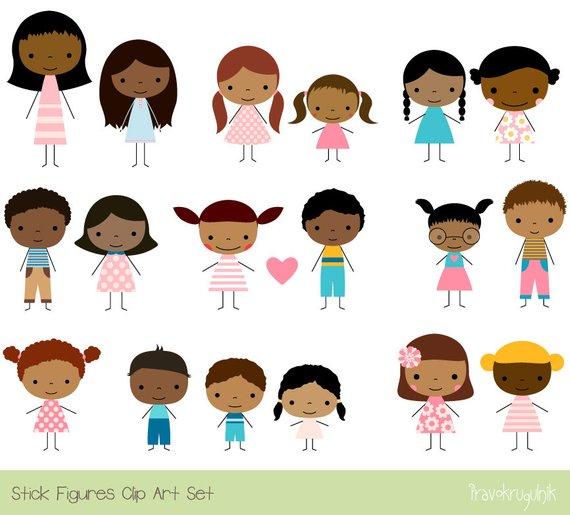 Skin clipart kid. Cute children multicultural clip