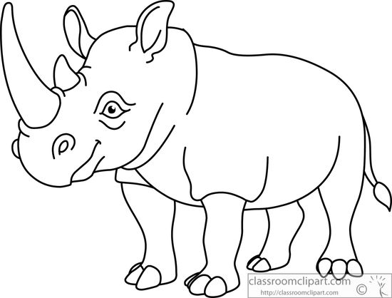 Rhinoceros line drawing at. Animal clipart black and white
