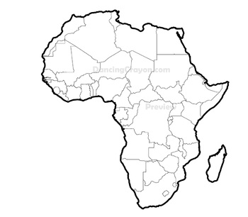Maps of clip art. Africa clipart line drawing