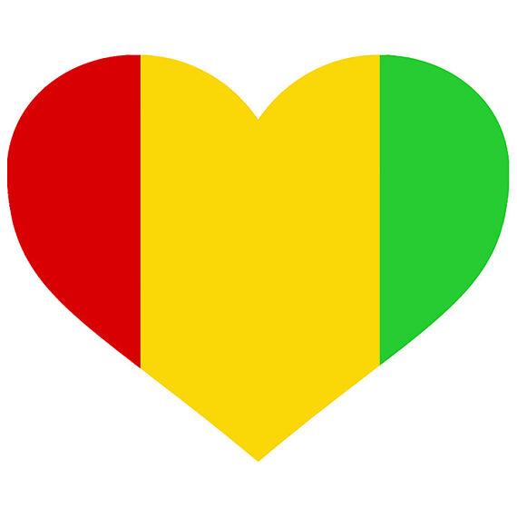 Africa clipart nation. Guinea heart shaped flag