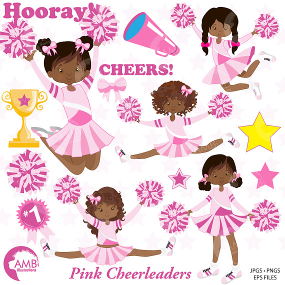Cheer clipart african american. Cheerleader pink cheerleaders clip