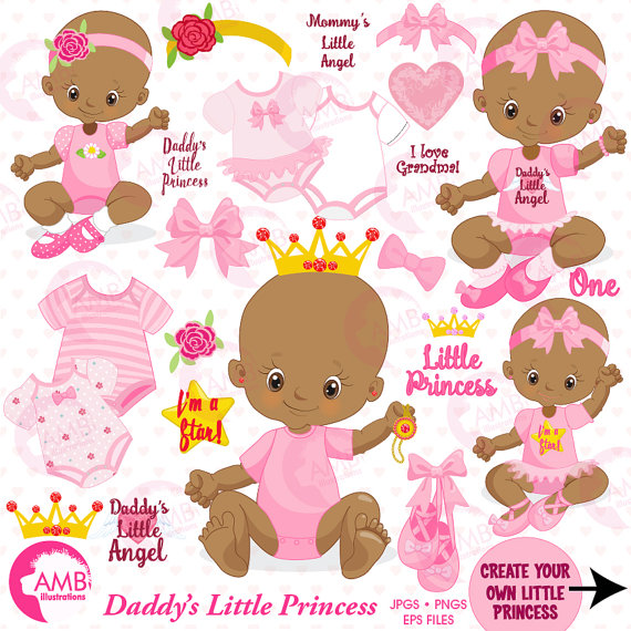 Baby girl little princess. Babies clipart african american