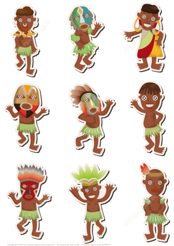 Printable stickers free papercraft. African clipart tribal