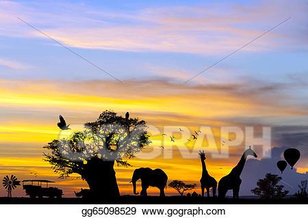 Sunset clipart sunset african. Stock illustration safari scene