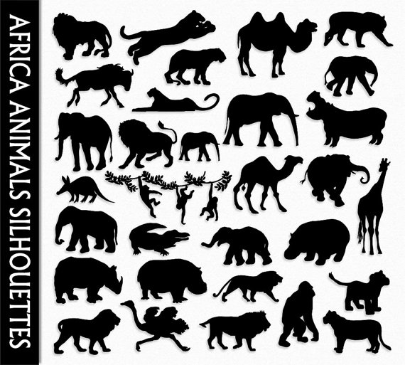 African clipart clip art. Africa animals graphic silhouettes