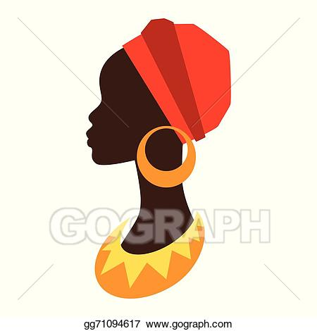 Vector stock of girl. African clipart silhouette