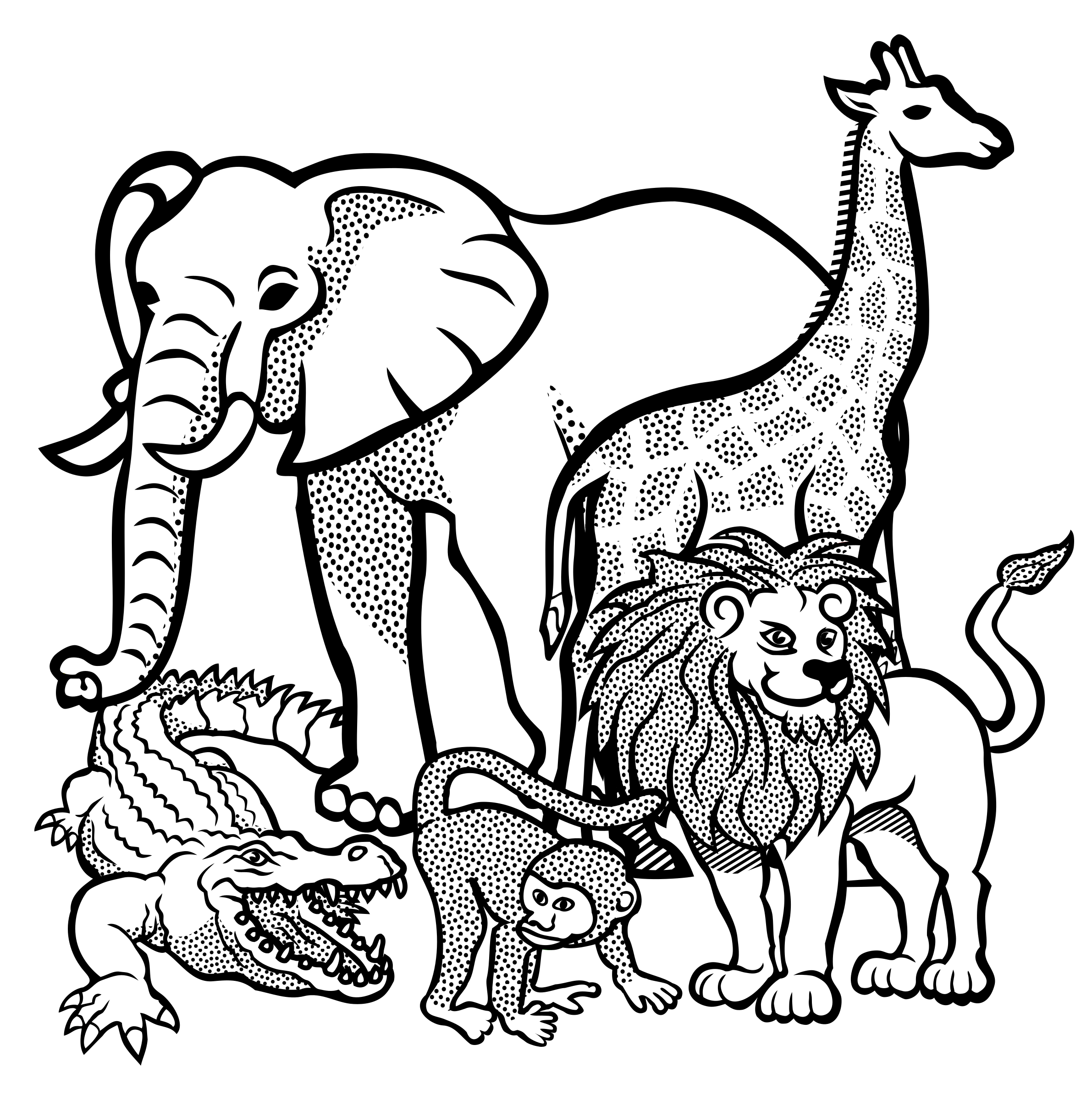 African animal drawing at. Animals clipart black and white