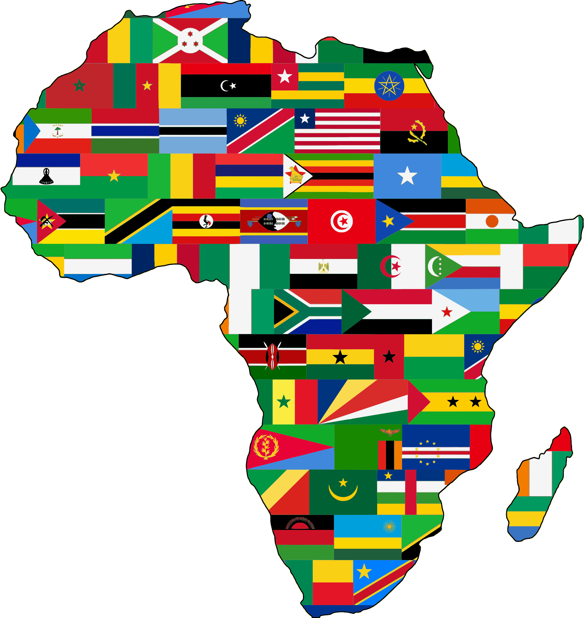 Africa flags slimmed down. African clipart transparent