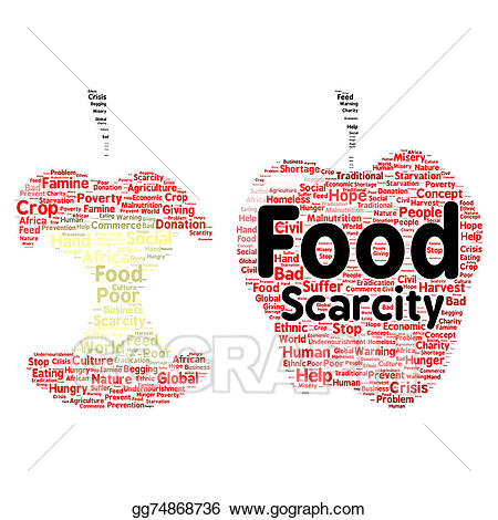 African clipart word. Drawing food scarcity cloud