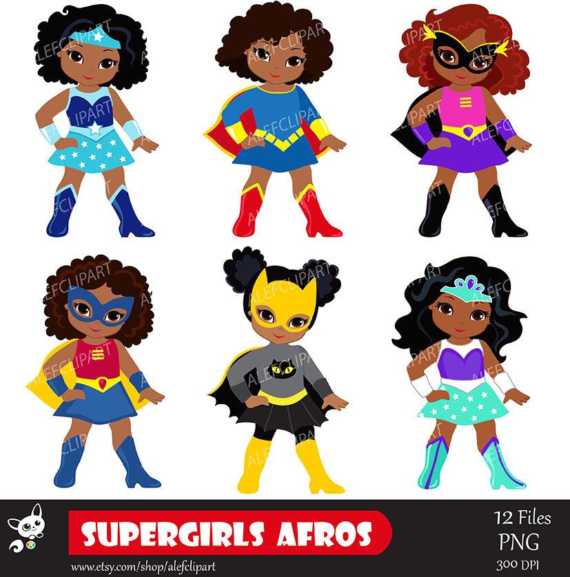 Girls superhero clip art. African clipart