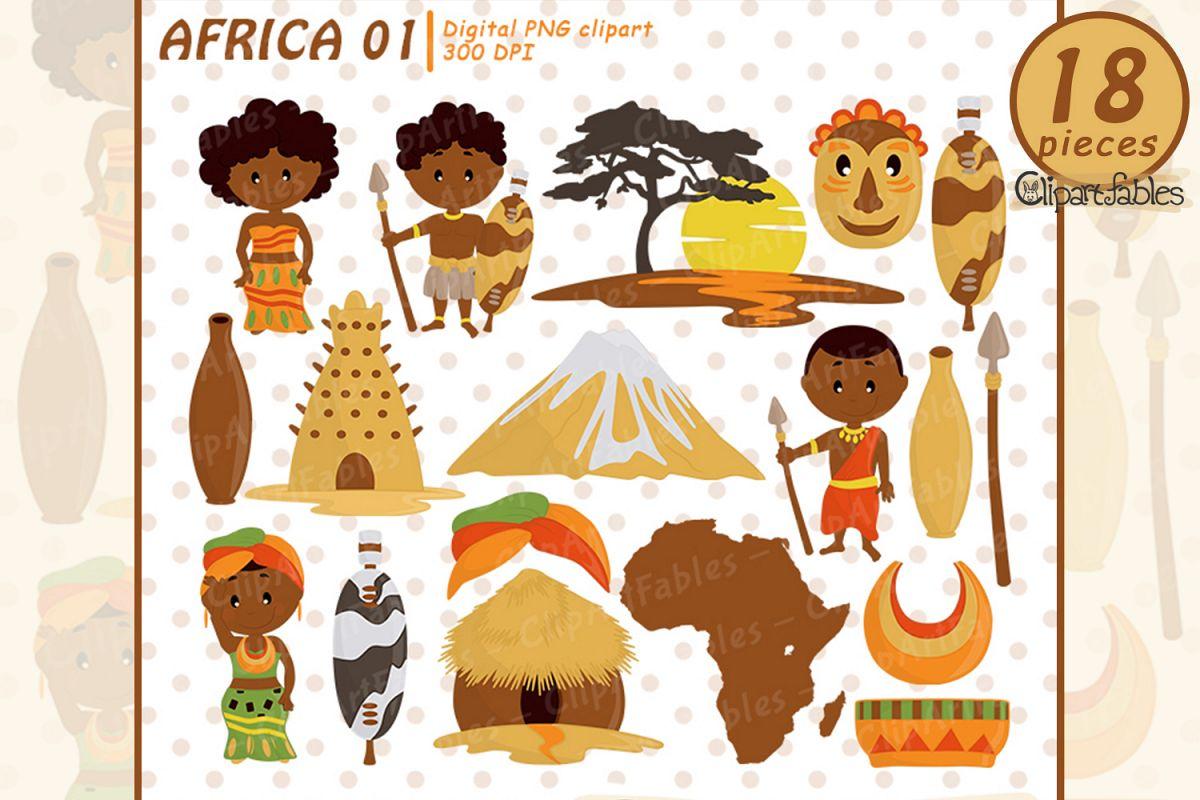 Travel art zulu tribe. African clipart