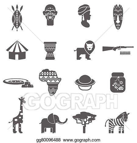 Vector art culture black. African clipart abstract
