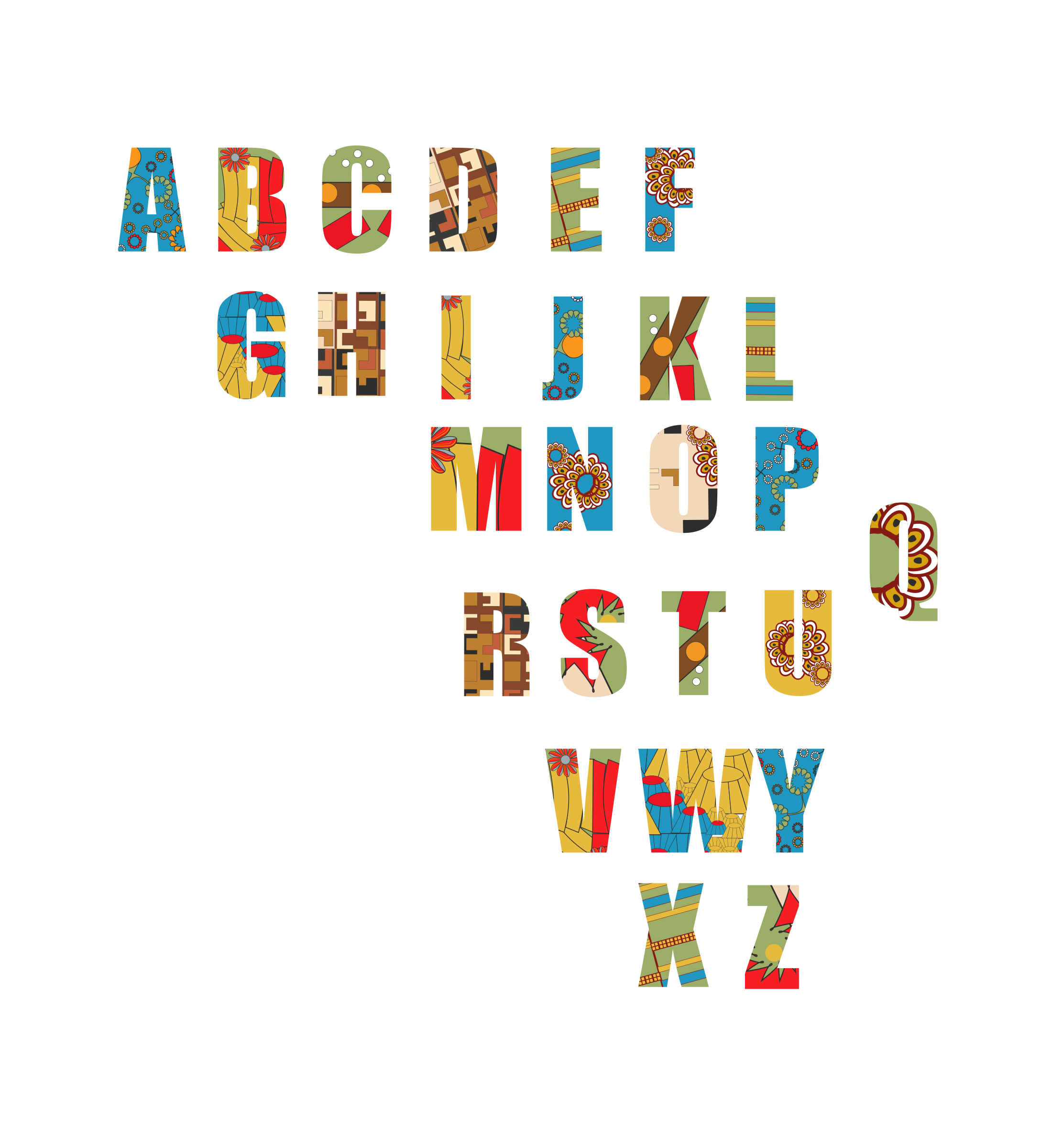 Ethnic alphabet big image. African clipart abstract