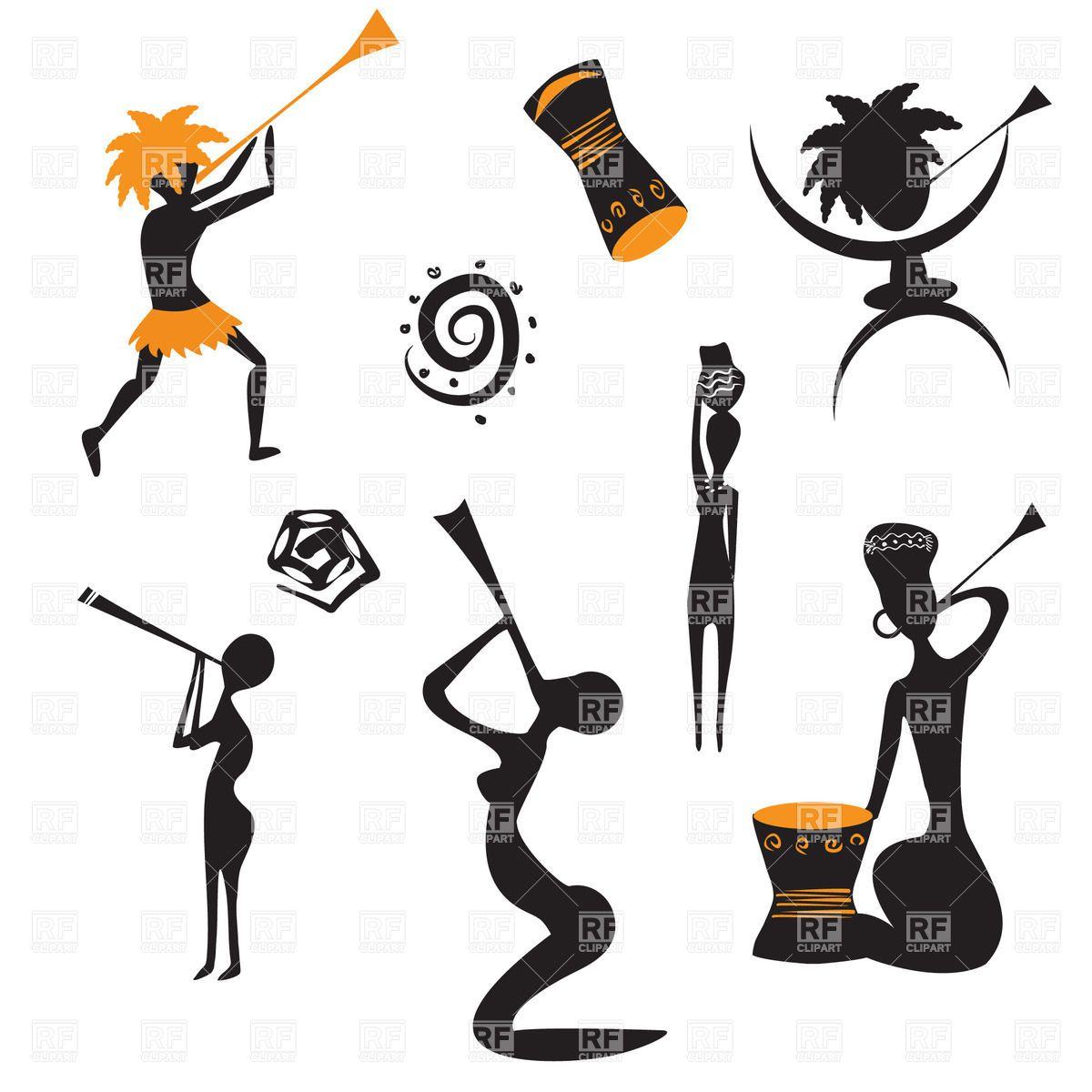 Native people vector image. African clipart abstract