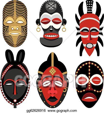 Vector art masks eps. African clipart african mask