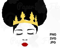 Black woman afro svg. African clipart african queen