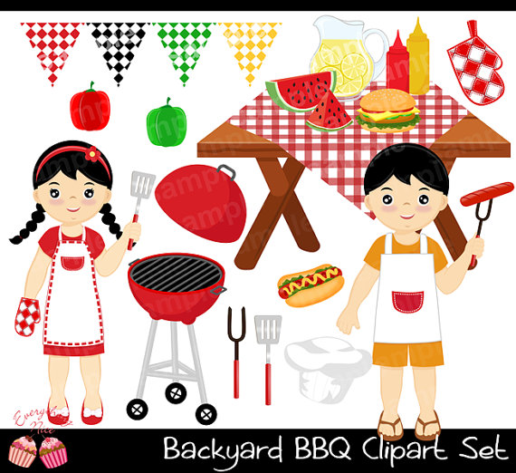 African clipart backyard bbq. Barbecue set