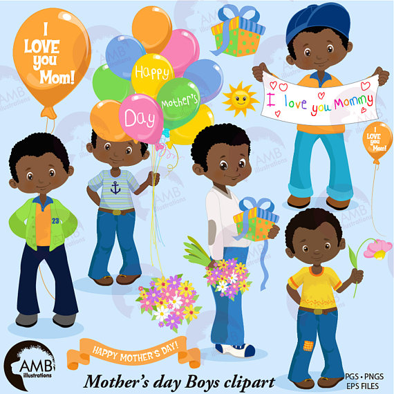 Mothers day american boys. African clipart backyard bbq