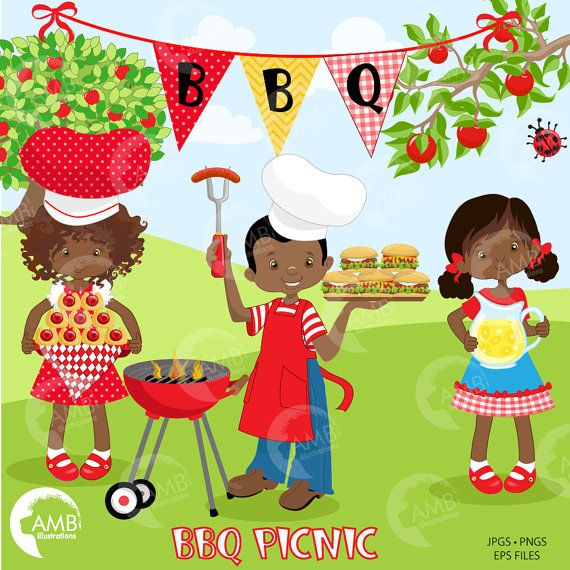 Picnic backyard barbecue party. Cookout clipart southern bbq