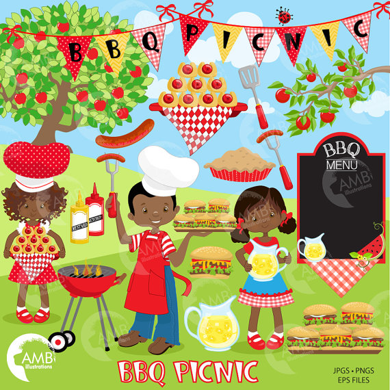 Bbq picnic backyard barbecue. Grilling clipart patio party