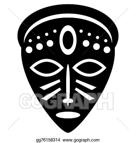 African clipart black and white. Vector illustration masks isolated