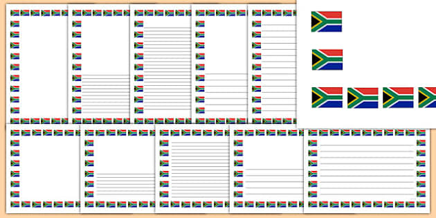 South africa flag themed. African clipart boarder