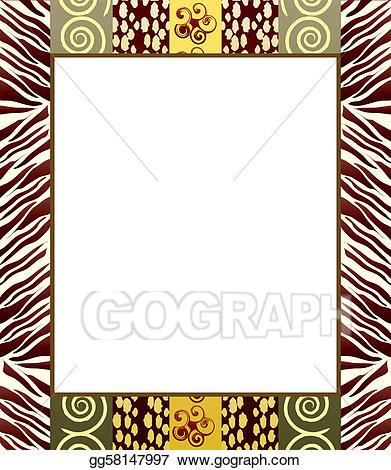 African clipart border. Vector art style frame