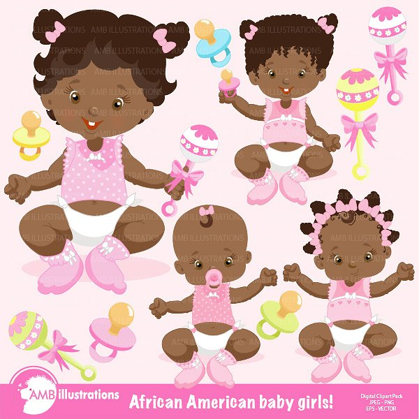 American baby girls amb. African clipart child african