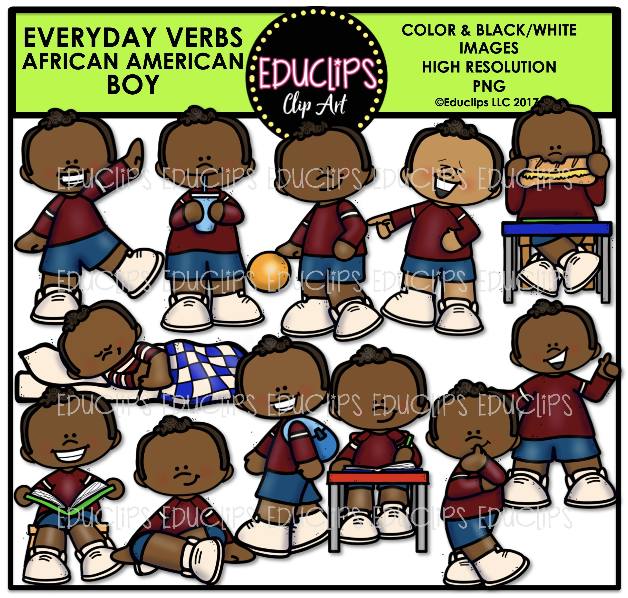 African clipart child african. Everyday verbs american boy