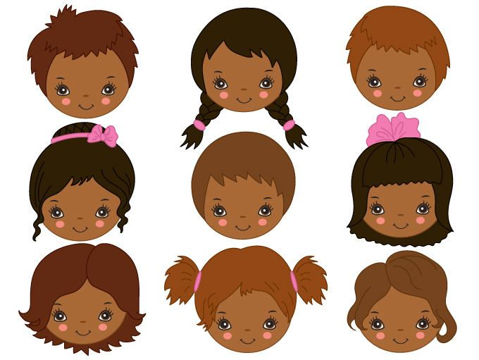 American kids faces digital. African clipart child african