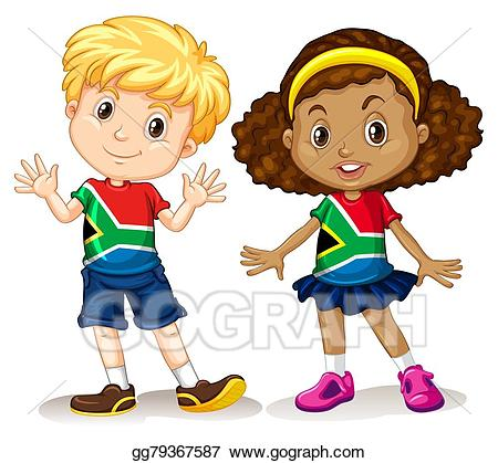 Vector boy and girl. African clipart child african