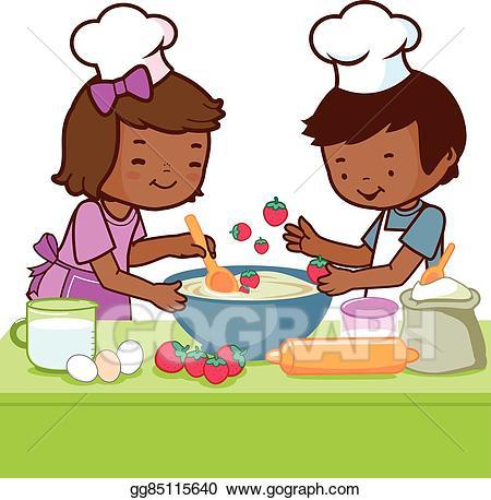 African clipart cooking. Vector art children in