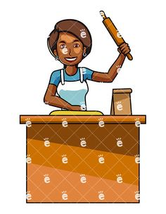African clipart cooking. A black woman with