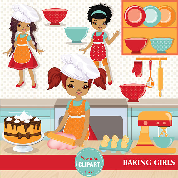 African clipart cooking. Baking girl clip art
