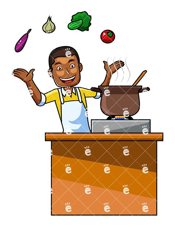 A black male with. Cooking clipart cookery