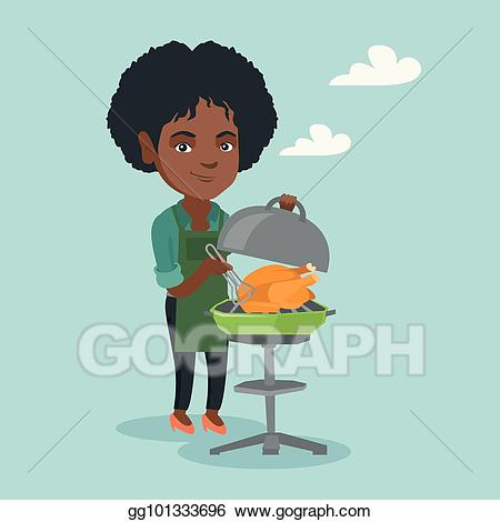 Vector illustration woman chicken. African clipart cooking