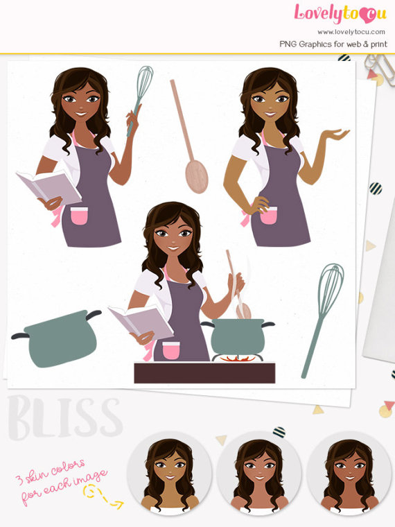 African clipart cooking. Woman character kitchen cook
