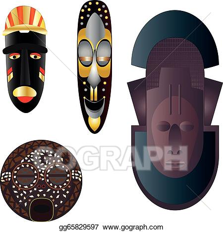 Vector art masks drawing. African clipart cultural