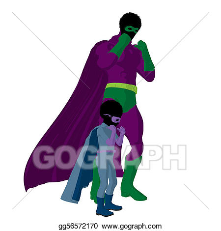 African clipart dad. Stock illustration american super