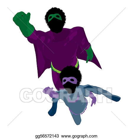 Stock illustration american super. African clipart dad