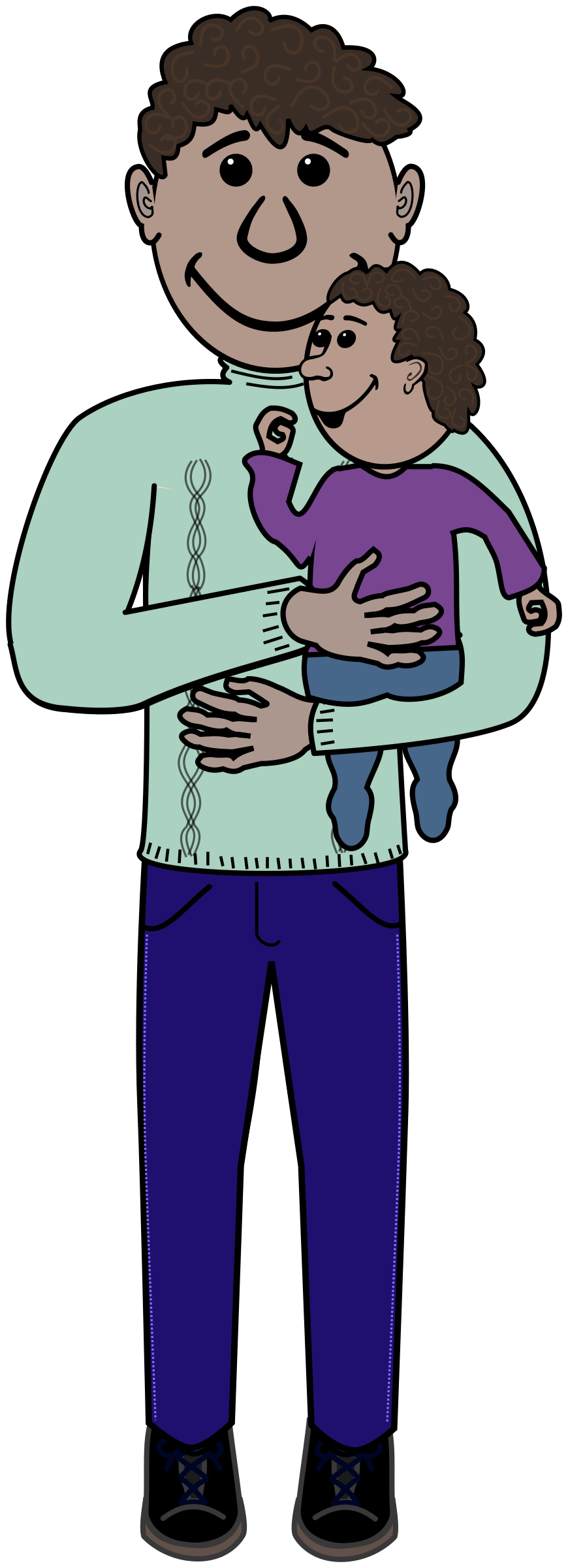 Father and kid big. African clipart dad