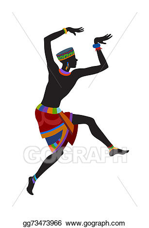 Stock illustrations ethnic dance. African clipart dancer african