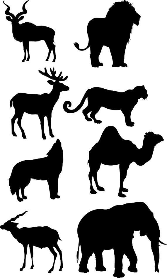 African clipart design.  animals silhouettes vector